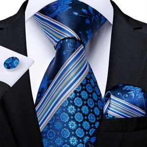 New Novelty Blue White Floral Tie Pocket Square Cufflinks Set