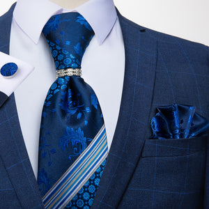 Novelty Blue White Floral Tie Pocket Square Cufflinks With Tie Ring Set