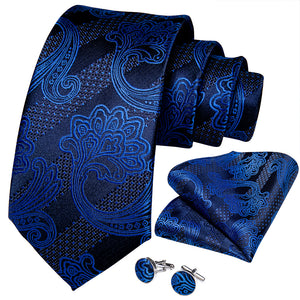 New Novelty Navy Blue Floral Tie Pocket Square Cufflinks Set (4601491718225)