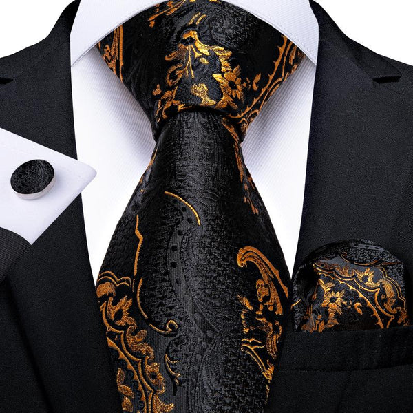 Black Yellow Floral Tie Pocket Square Cufflinks Set