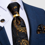 4PCS Black Yellow Floral Silk Men's Tie Pocket Square Cufflinks with Tie Ring Set