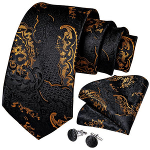 Black Yellow Floral Tie Pocket Square Cufflinks Set (4536097603665)