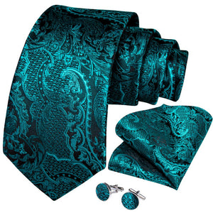 New Novelty Turquoise Floral Tie Pocket Square Cufflinks Set