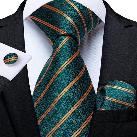 Teal Yellow Striped Men's Tie Handkerchief Cufflinks Set