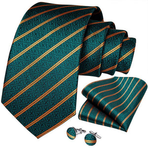 Load image into Gallery viewer, Green Yellow Striped Men's Tie Ring Handkerchief Cufflinks Set