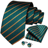 Green Yellow Striped Men's Tie Ring Handkerchief Cufflinks Set