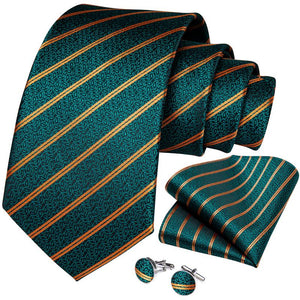 Teal Yellow Striped Men's Tie Handkerchief Cufflinks Set (4468078772305)