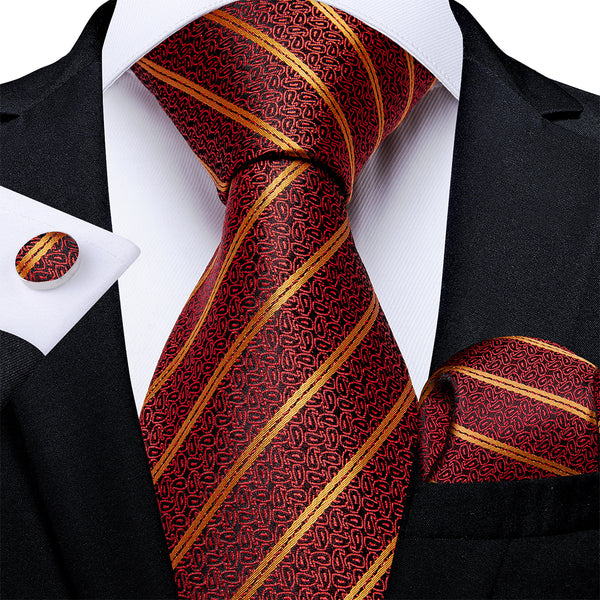 New Orange Red Yellow Stripe Tie Pocket Square Cufflinks Set