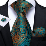 Teal Orange Paisley Men's Tie Handkerchief Cufflinks Set