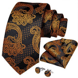 Black Brown  Floral Tie Pocket Square Cufflinks Set