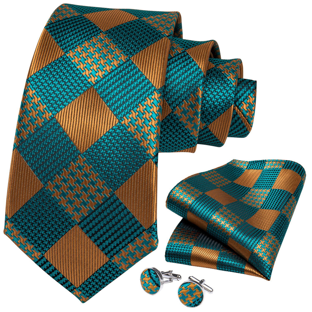 Teal Orange Plaid Men's Tie Handkerchief Cufflinks Set