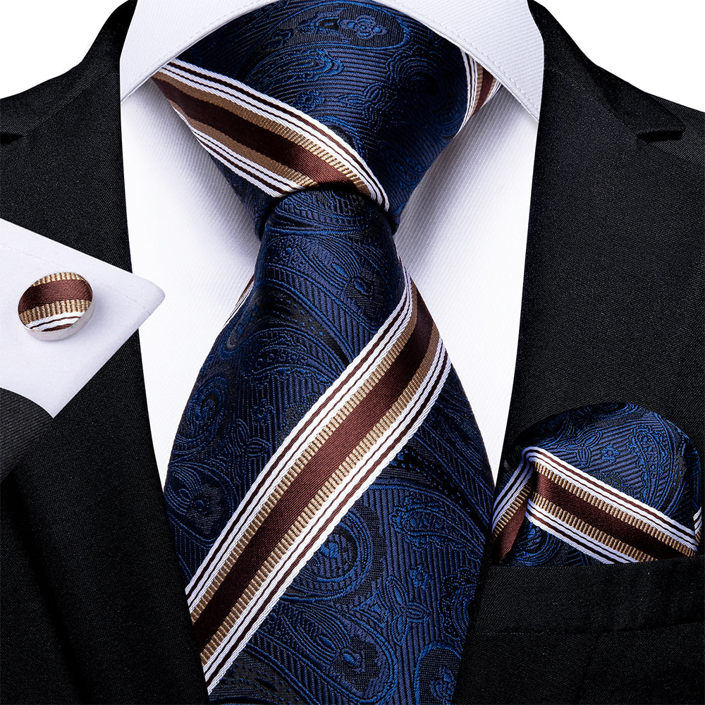 New Blue Brown Stripe Tie Handkerchief Cufflinks Set