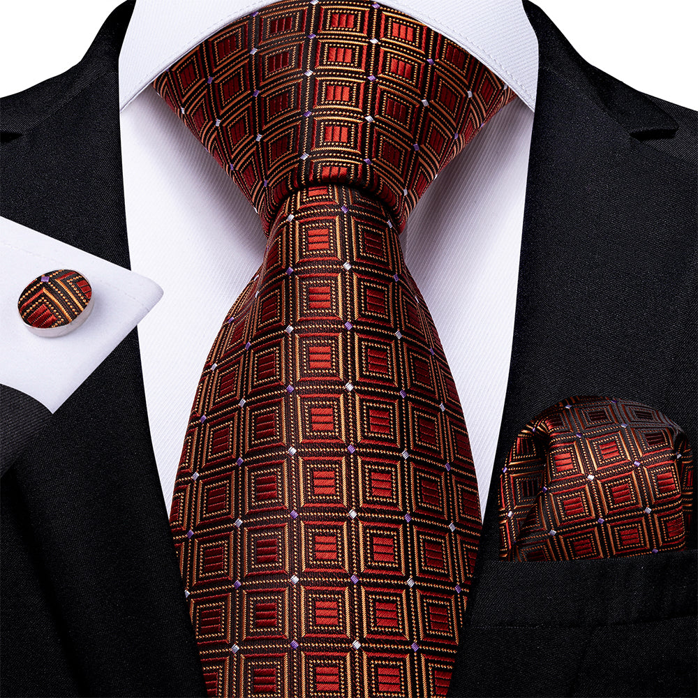 New Orange Red Gold Plaid Tie Pocket Square Cufflinks Set