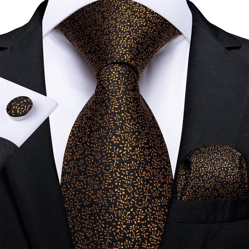 Load image into Gallery viewer, Brown Floral Tie Pocket Square Cufflinks Set (4536099242065)