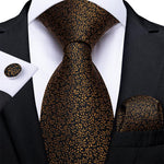 Brown Floral Tie Pocket Square Cufflinks Set