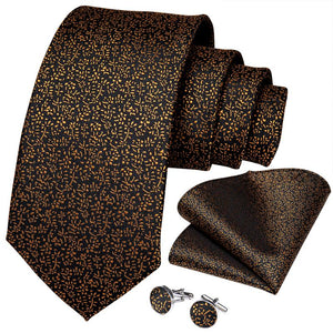 Brown Floral Tie Pocket Square Cufflinks Set (4536099242065)
