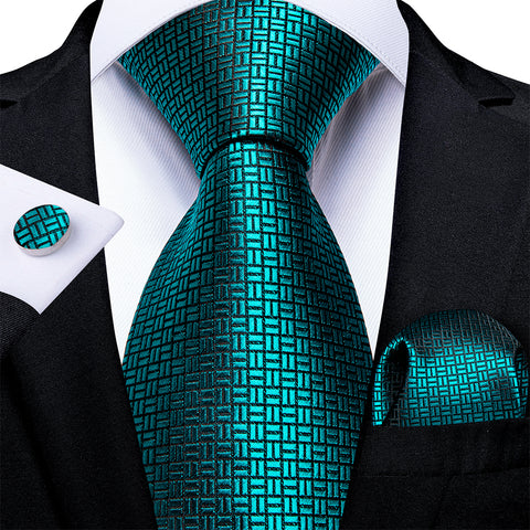 New Novelty Solid Turquoise Tie Pocket Square Cufflinks Set