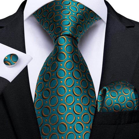 Teal Yellow Polka Dot  Men's Tie Handkerchief Cufflinks Set
