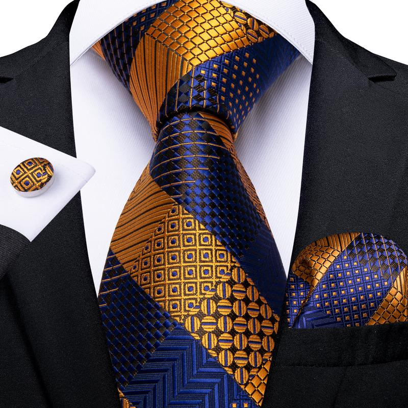Blue Yellow Plaid Men's Tie Handkerchief Cufflinks Set