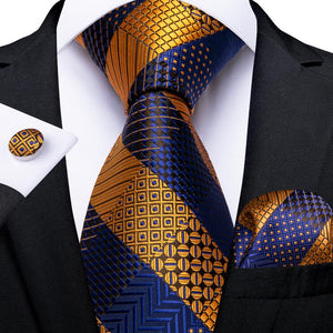 Brown Blue Striped Men's Tie Ring Handkerchief Cufflinks Set
