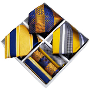 3PCS Gift Necktie Set Blue Yellow Silk Striped Tie Handkerchief Cufflinks Set