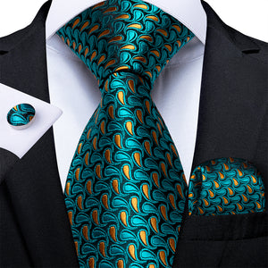 New Peacock Blue Ginger Floral Tie Pocket Square Cufflinks Set (4601518784593)