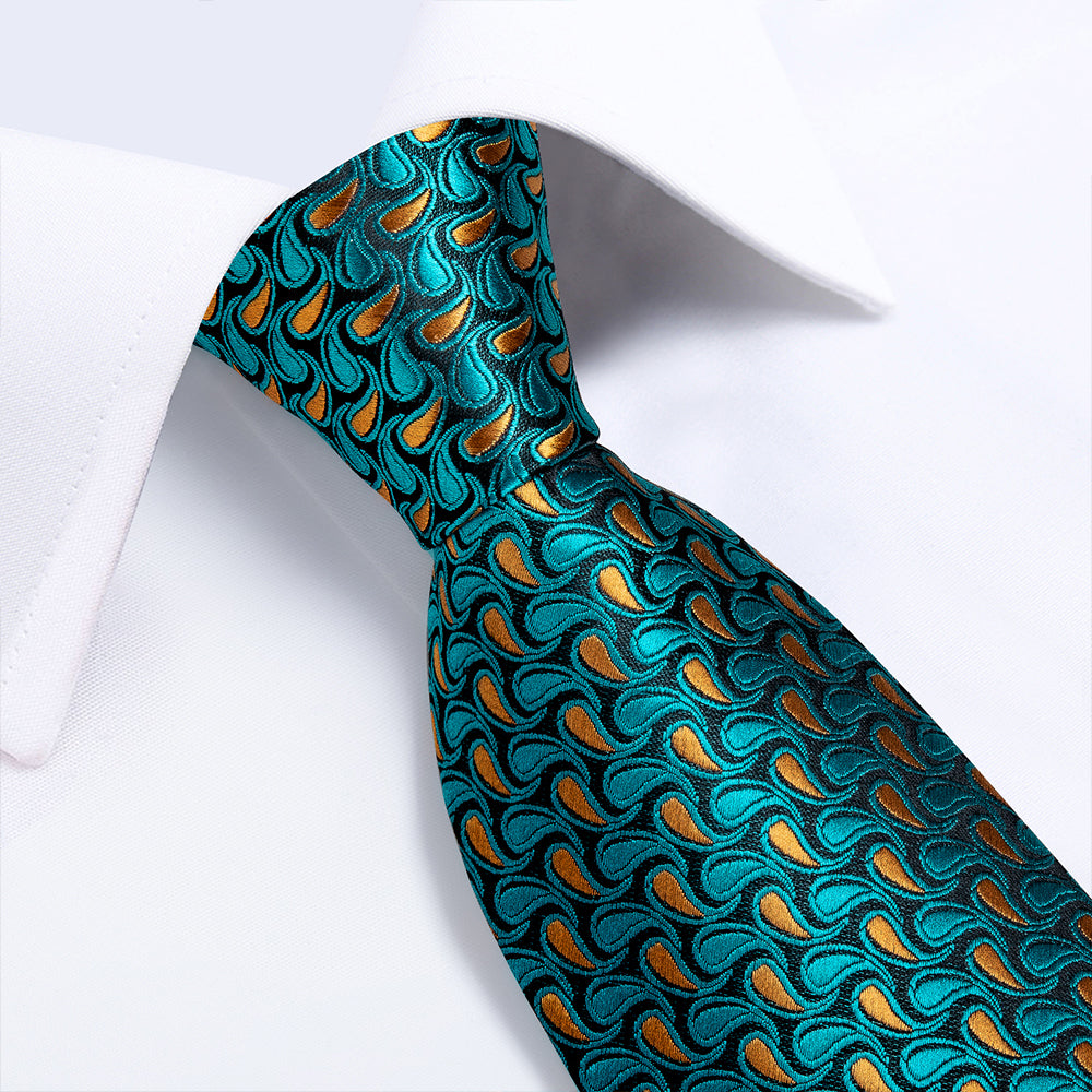 New Peacock Blue Ginger Floral Tie Pocket Square Cufflinks Set