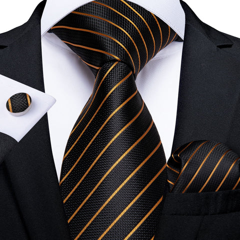 Black Yellow Striped  Men's Tie Handkerchief Cufflinks Set