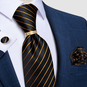 4PCS Black Yellow Striped Tie Pocket Square Cufflinks with Tie Ring Set