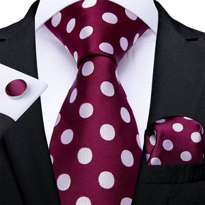 Purple Red Big White Polka Dot Silk Tie Pocket Square Cufflinks With Tie Ring Sets