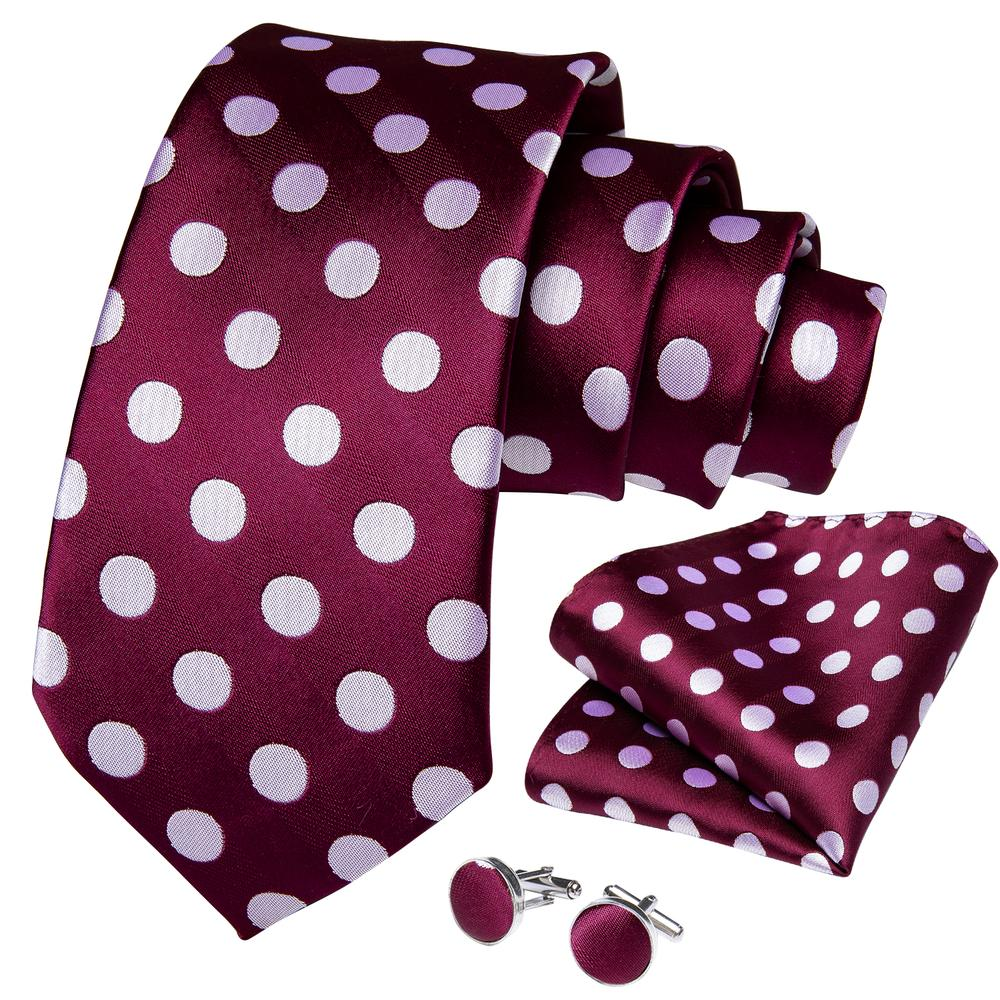 Load image into Gallery viewer, Purple Red Big White Polka Dot Silk Tie Pocket Square Cufflinks With Tie Ring Sets