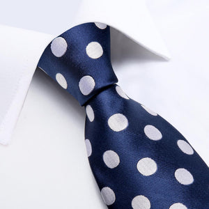 New Blue Big White Polka Dot Tie Pocket Square Cufflinks Set (4601542836305)