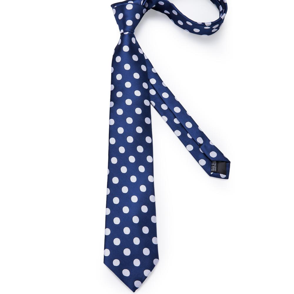 Load image into Gallery viewer, New Blue Big White Polka Dot Tie Pocket Square Cufflinks Set (4601542836305)