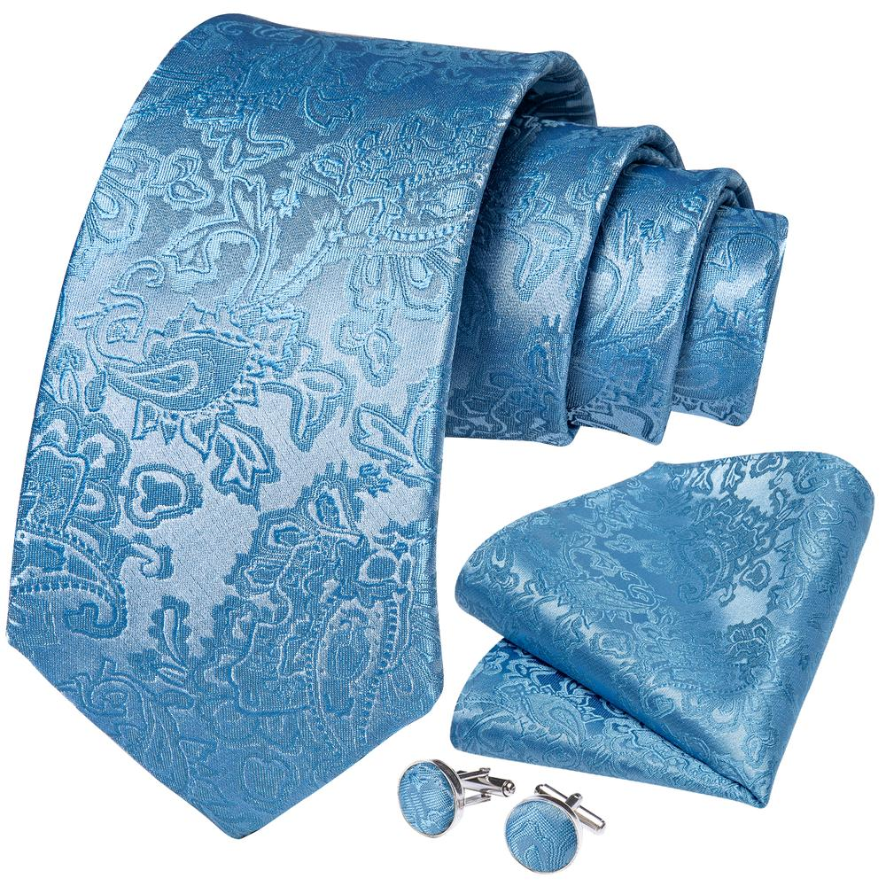 New Sky Blue Floral Tie Pocket Square Cufflinks Set (4601544474705)