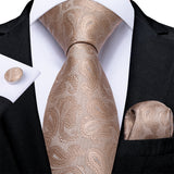 New Brown Paisley Tie Handkerchief Cufflinks Set