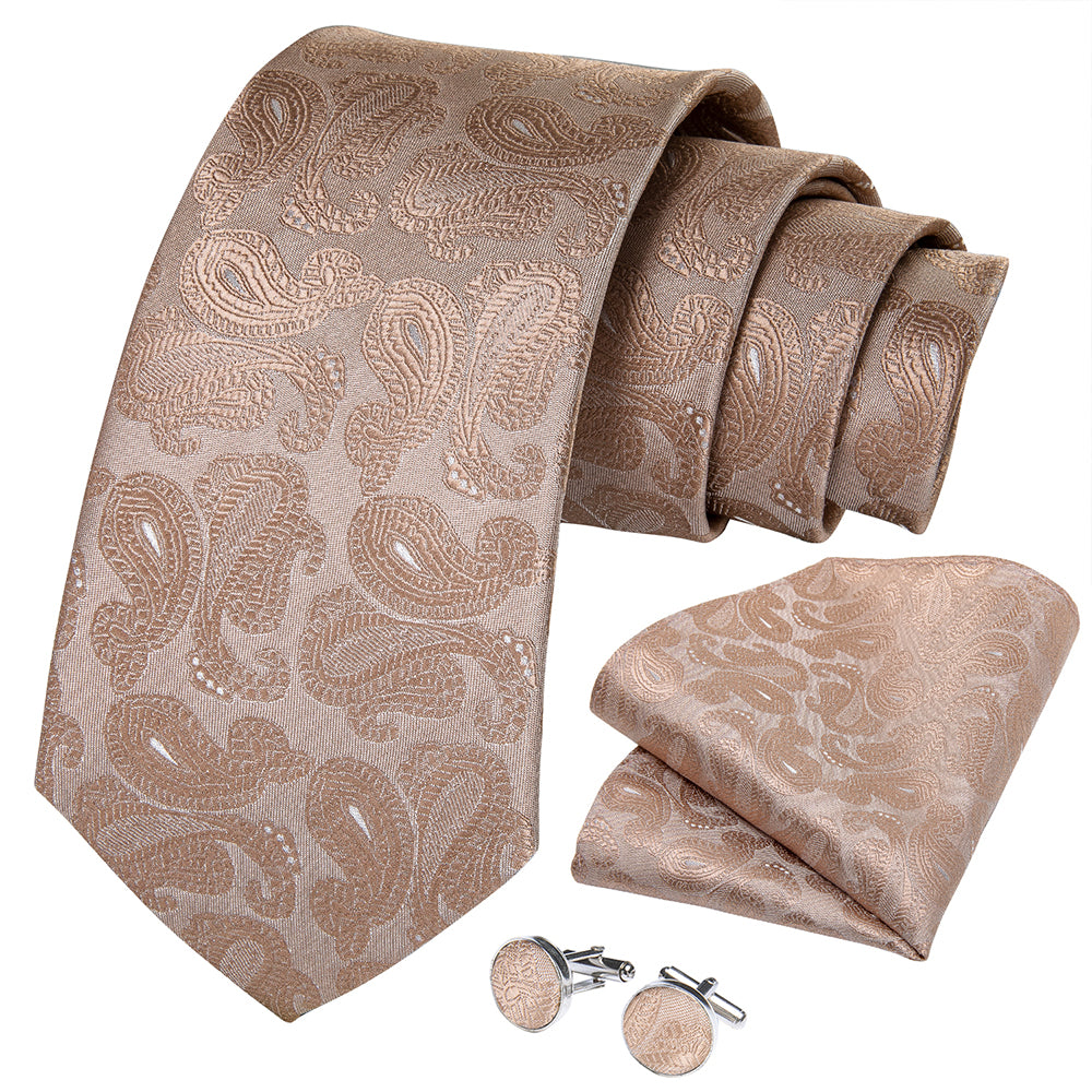 New Brown Paisley Tie Handkerchief Cufflinks Set (4601260933201)