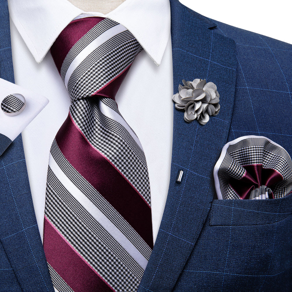 Purplish Red Black White Stripe Silk Men's Necktie Handkerchief Cufflinks Set With Lapel Pin Brooch Set