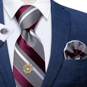 Load image into Gallery viewer, Red Grey Striped Men's Tie Handkerchief Cufflinks Set with Tie Tack (4701438214225)