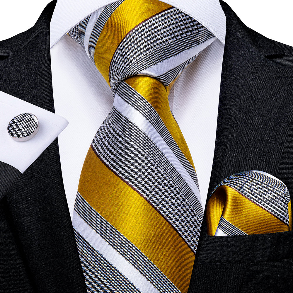 New Black White Yellow Stripe Tie Pocket Square Cufflinks Set
