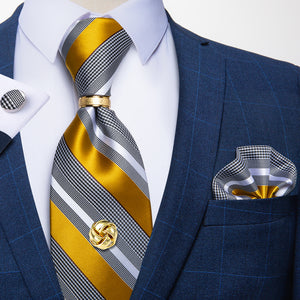 5PCS Yellow Grey Striped Tie Pocket Square Cufflinks with Tie Ring Tack Set