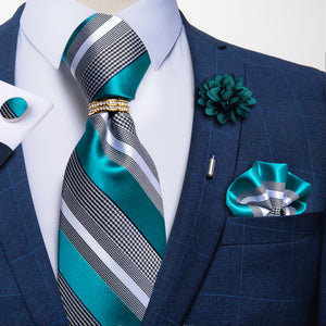 5PCS Blue Grey Striped Tie Pocket Square Cufflinks with Tie Ring Lapel Pin Set