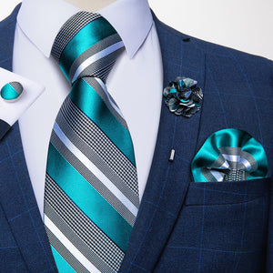 Blue Grey Striped Silk Men's Necktie Handkerchief Cufflinks Set With Lapel Pin Brooch Set