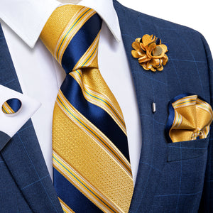 Load image into Gallery viewer, Yellow Blue Striped Silk Men's Necktie Handkerchief Cufflinks Set With Lapel Pin Brooch Set