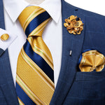 Yellow Blue Striped Silk Men's Necktie Handkerchief Cufflinks Set With Lapel Pin Brooch Set