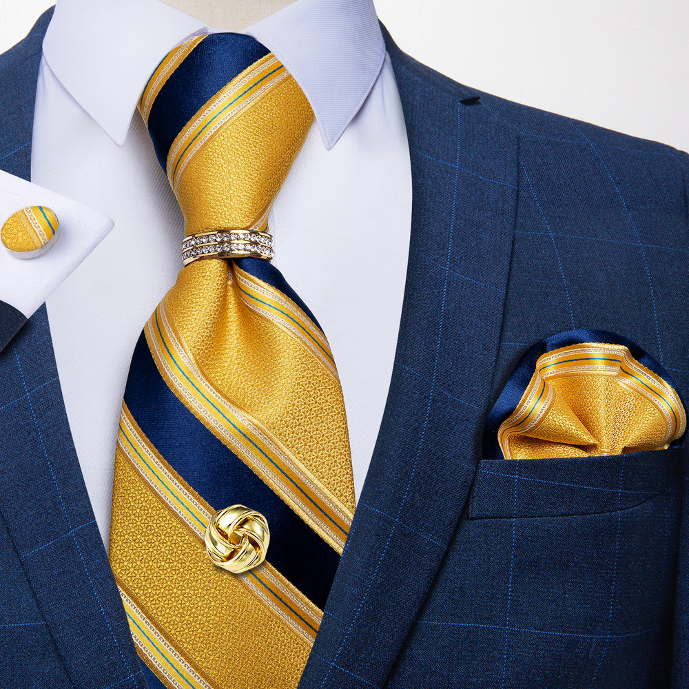 5PCS Yellow Blue Striped Tie Pocket Square Cufflinks with Tie Ring Tack Set