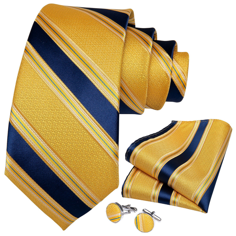 Yellow Blue Striped  Men's Tie Handkerchief Cufflinks Set With Lapel Pin