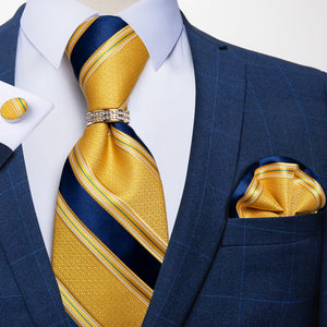 4PCS Yellow Blue Striped  Men's Tie Pocket Square Cufflinks with Tie Ring Set (4527281373265)
