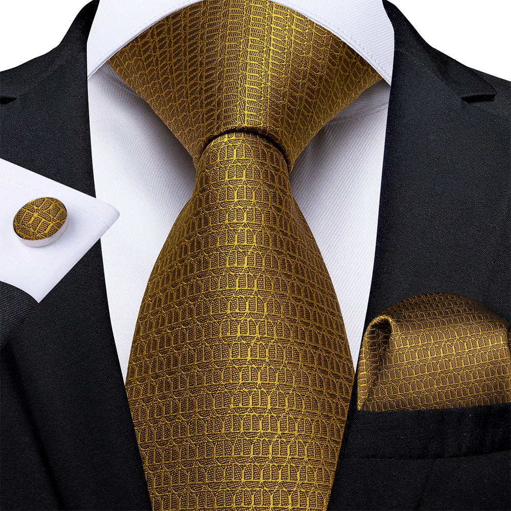 4PCS Solid Golden Silk Tie Pocket Square Cufflinks With Tie Ring Set (4671275368529)