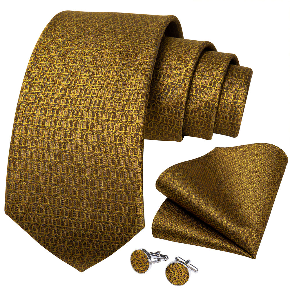 New Solid Golden Tie Pocket Square Cufflinks Set