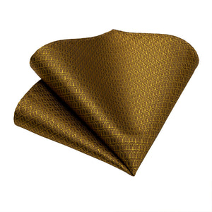 New Solid Golden Tie Pocket Square Cufflinks Set (4601550831697)